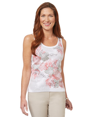 Women's white Canadian maple leaf print scoop neck tank top