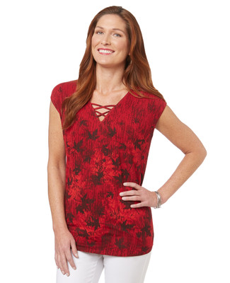 Women's red v neck top with abstract Canadian maple leaf print