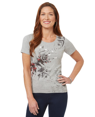 Women's grey abstract Canadian geese graphic cotton t-shirt
