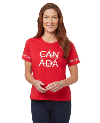 Women's red Canada Day crew neck t-shirt