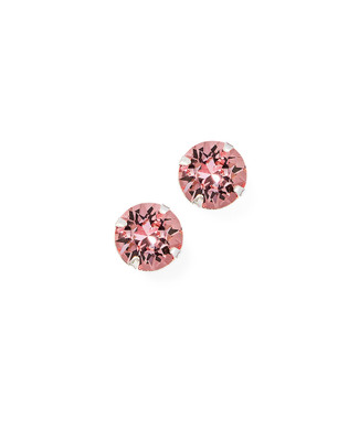 Women's sterling silver pink crystal stud earrings