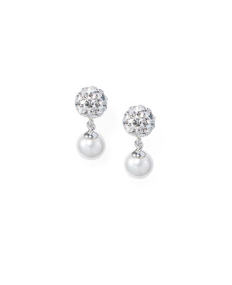 Women's crystal and pearl drop earrings