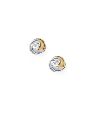 Women's sterling silver two tone knot earrings
