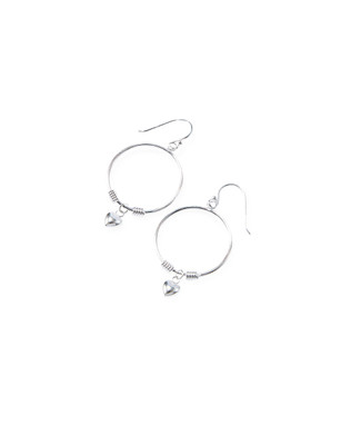 Women's sterling silver hoop earrings with dangling heart