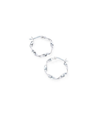 Women's small sterling silver twisted hoop earrings