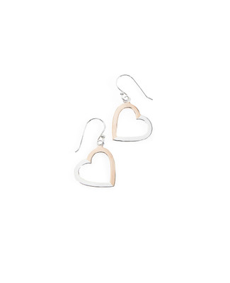 Women's sterling silver two tone heart drop earrings