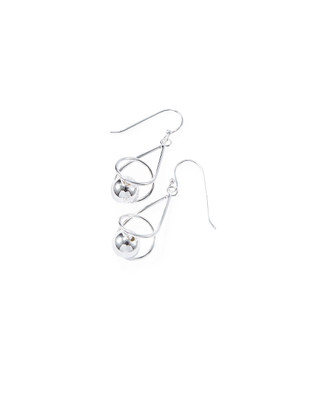 Women's sterling silver sphere ball drop earrings