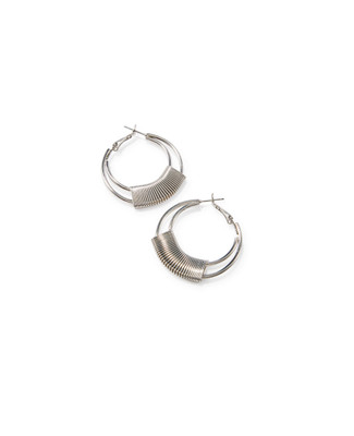 Women's silver hoop earrings with wire wrap detail
