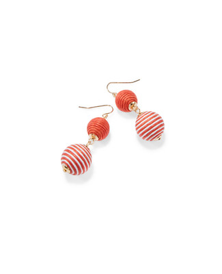 Women's coral and gold ball drop earrings