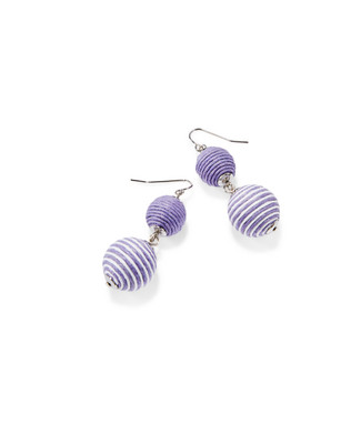 Women's lilac and silver ball drop earrings