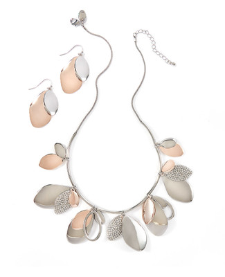 Women's silver statement necklace and earring set