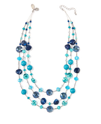 Women's layered necklace with turquoise stones
