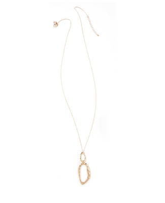 Women's long gold pendant necklace