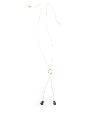 Women's gold and green stone drop necklace