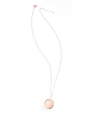 Women's gold and pink ball pendant necklace