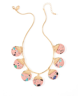Women's gold and pink stone statement necklace