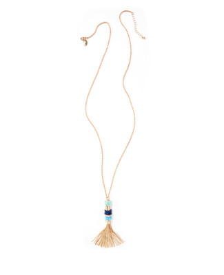 Women's gold and turquoise tassel pendant necklace