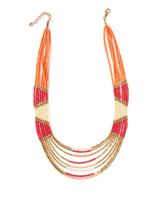 Women's coral beaded statement necklace