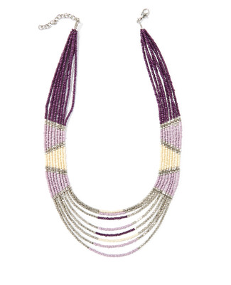 Women's purple beaded statement necklace