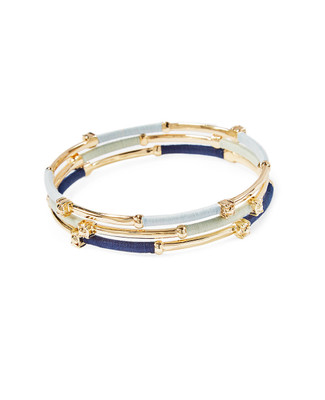 Women's blue and gold stacking bangles
