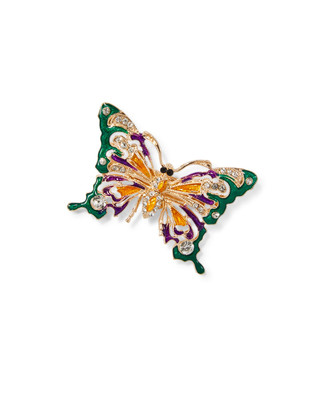Women's gold and multi-coloured butterfly brooch
