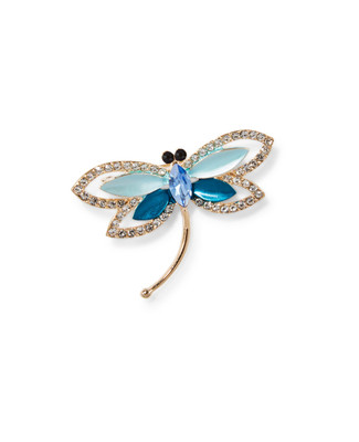 Women's gold and crystal dragonfly brooch