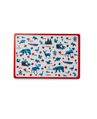 Placemat adorned with red and white Canada design