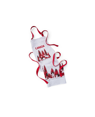Kitchen apron with red and white Canadian design