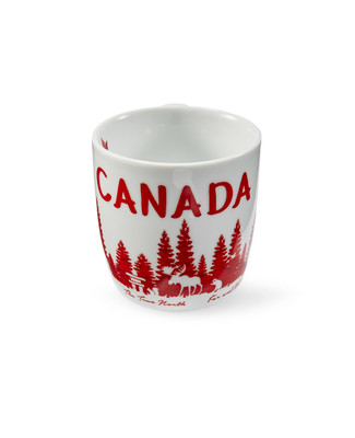 Coffee mug with red and white Canada design