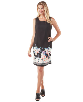 Women's black summer dress with floral print hem