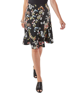 Women's floral printed swing skirt with elastic waistband