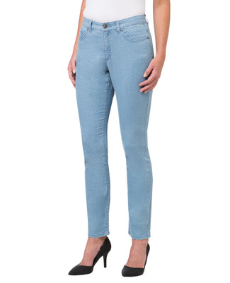 Women's light wash polka dot jeans