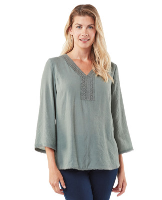 Women's lace trim tunic top