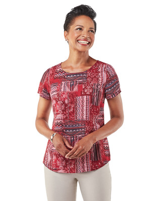 Women's red top with patchwork design