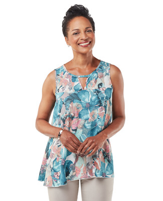 Women's sea blue sleeveless top with keyhole neckline