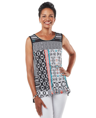 Women's patchwork print black sleeveless blouse