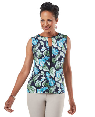 Women's navy tropical print sleeveless blouse