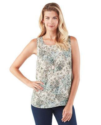 Women's green floral sleeveless top