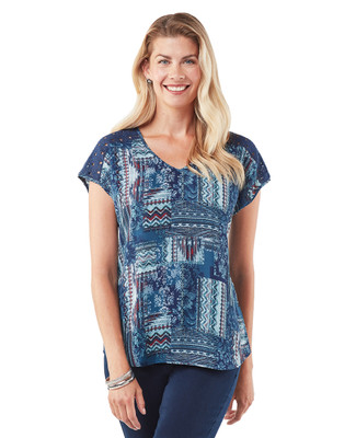 Women's navy V neck lace top