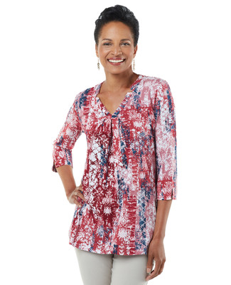 Women's red garnet detailed v-neck blouse