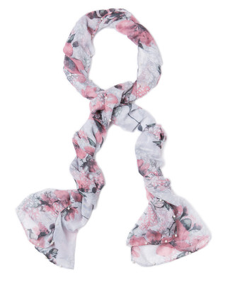 Women's faded pink pearl floral fashion scarf for fall