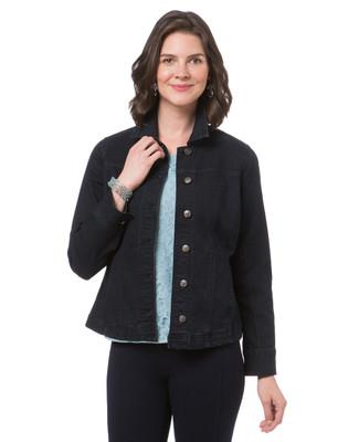 Women's dark blue jean jacket with sparkle shoulders