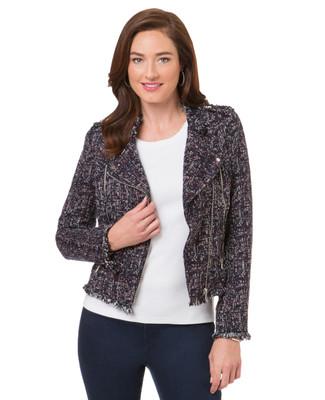 Women's navy mixed yarn textured coat