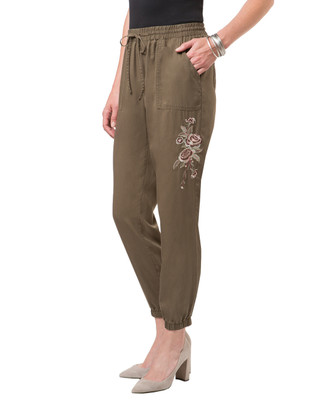 Women's thyme green tencel pant with elastic waist