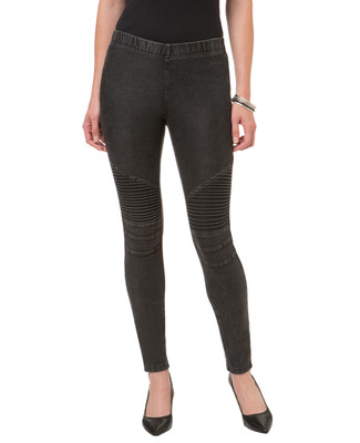 Women's black moto knee legging