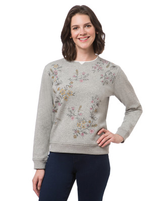 Women's petite light grey northern reflections sweatshirt with floral print