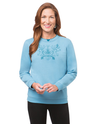 Women's aquamarine northern reflections sweater with flower print