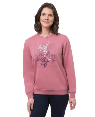 Women's pink berry northern reflections sweatshirt with stamped leaf print
