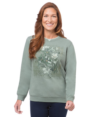 Women's thyme northern reflections sweatshirt with water lily print