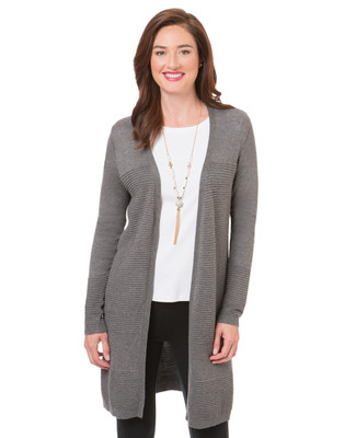 Women's heather grey long cardigan duster ribbed sweater